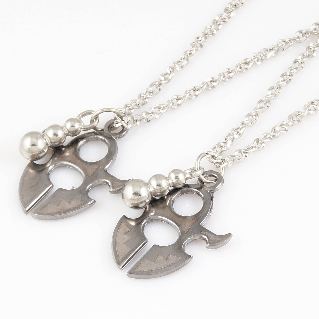 2 Pcs Couples Silver Tone Calabash Pendant Chain Chocker Necklace