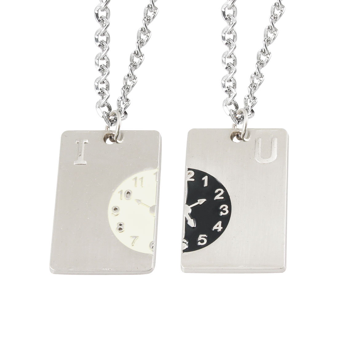 Couple Rectangle Clock Pendant Siver Tone Lobster Clasp Necklaces Pair