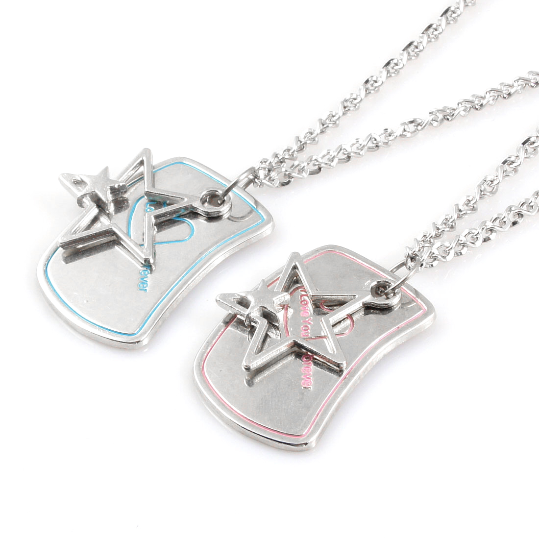 Lovers Silver Tone 50cm Girth Metal Star Shaped Pendant Necklace 2 Pcs