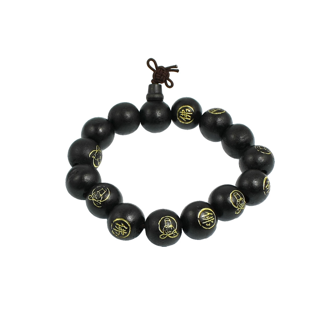 "Black Wood Beads Chinese Character Words Buddha Carved Bracelet 9.8"" Girth"