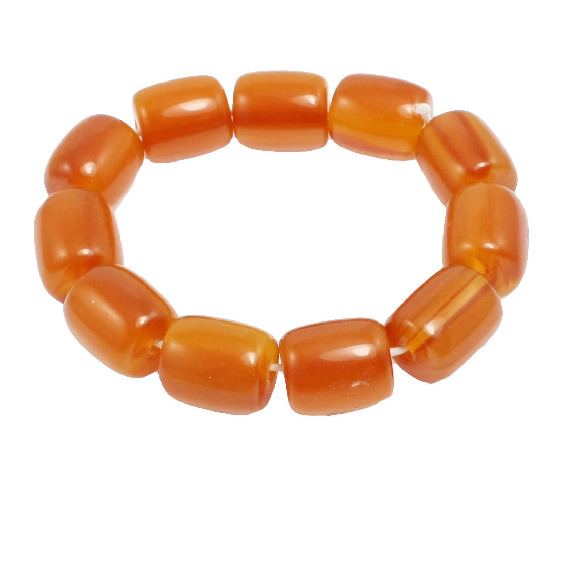 Lady Girl Elastic Wrist Band Amber Plastic Beaded Bracelet Bangle