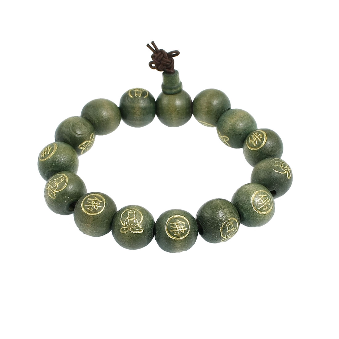 "Stretchy Green Buddha Beads Chinese Character Bangle Bracelet 9.8"" Girth"