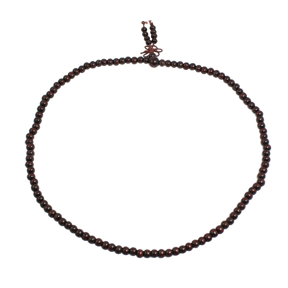"21.6"" Girth Dark Red Wood Beads Chinese Character Bracelet Bangle"