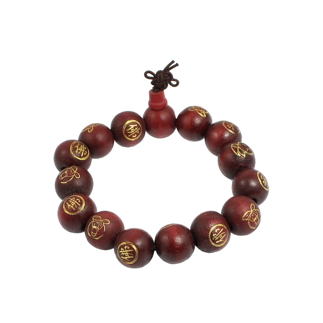 "9.8"" Girth Dark Red Wood Beads Chinese Words Buddha Carved Bracelet"