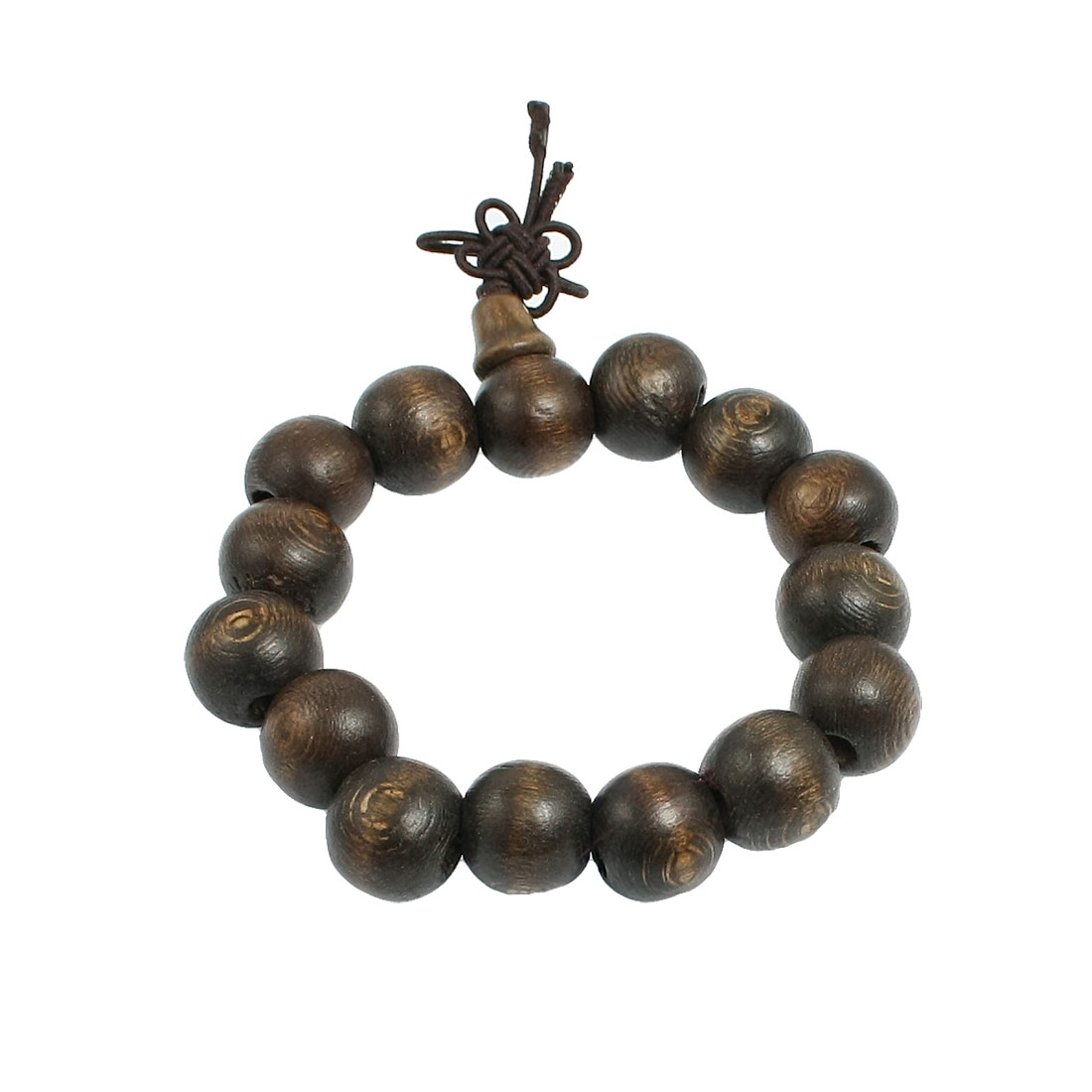 Brown Wood Beads Chinese Words Print Buddha Carved Bracelet Bangle 9.8""