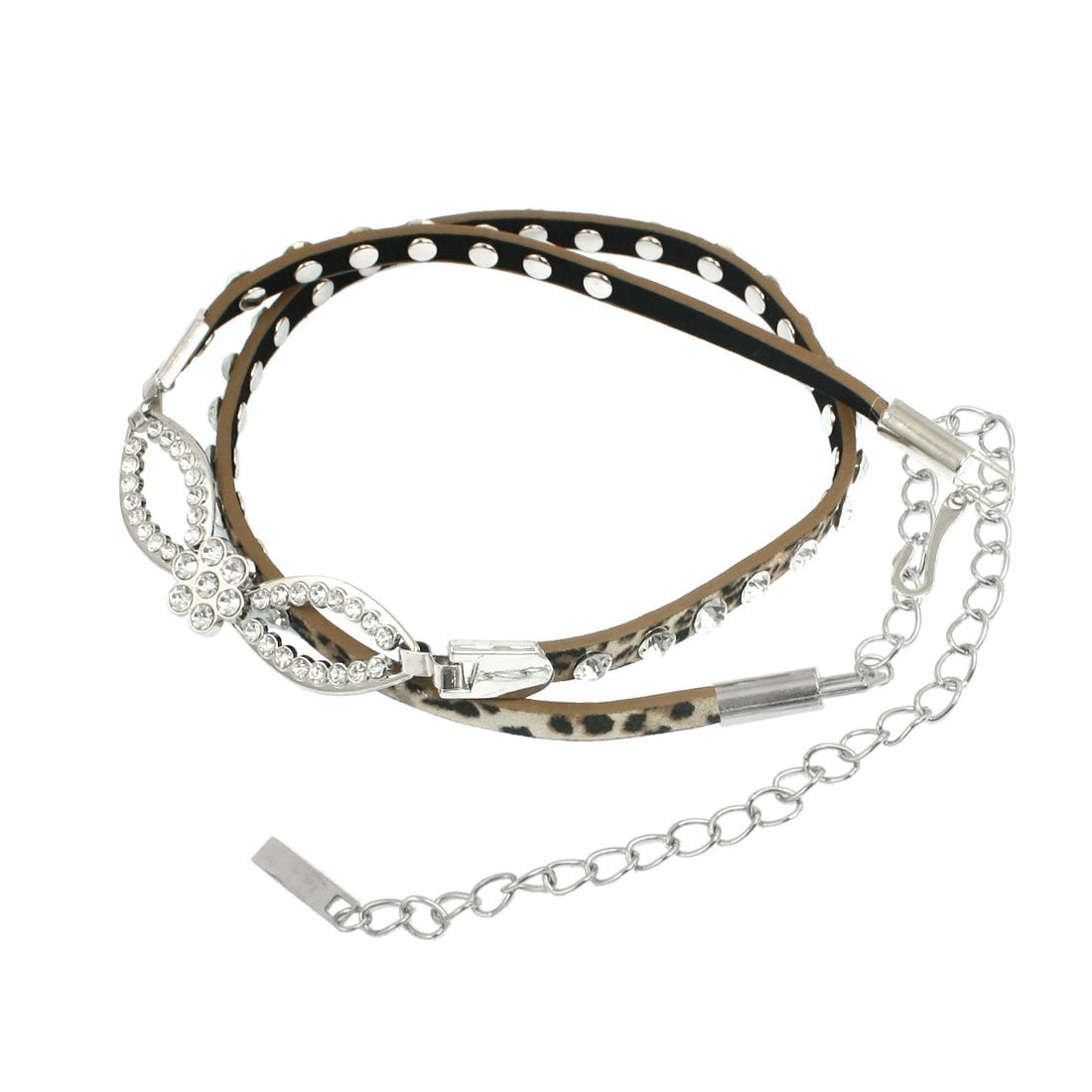 Women Adjustable Buckle Leopard Print Faux Leather Chain Belt