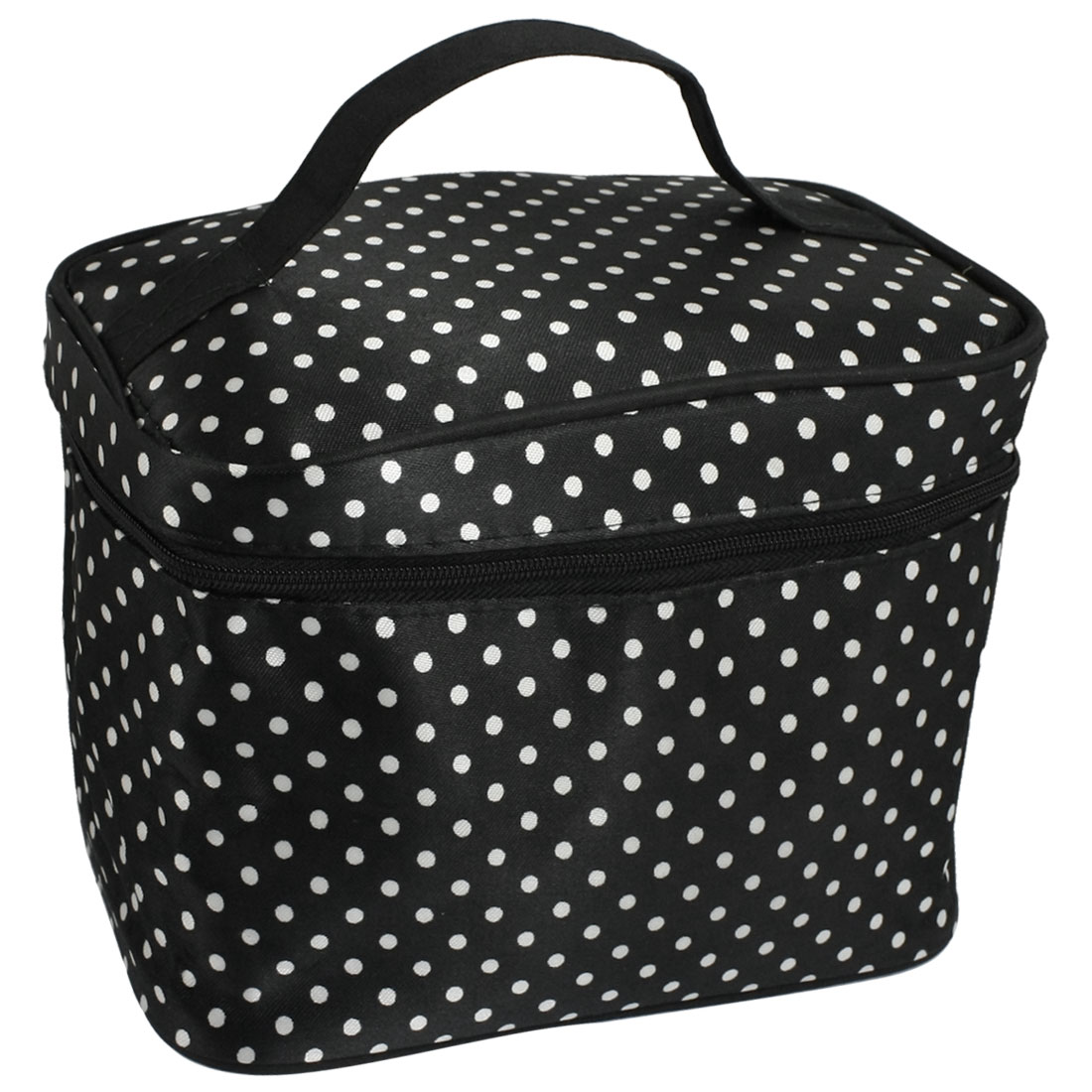 Lady Black Polryster Dots Print Zipper Cosmetic Makeup Bag
