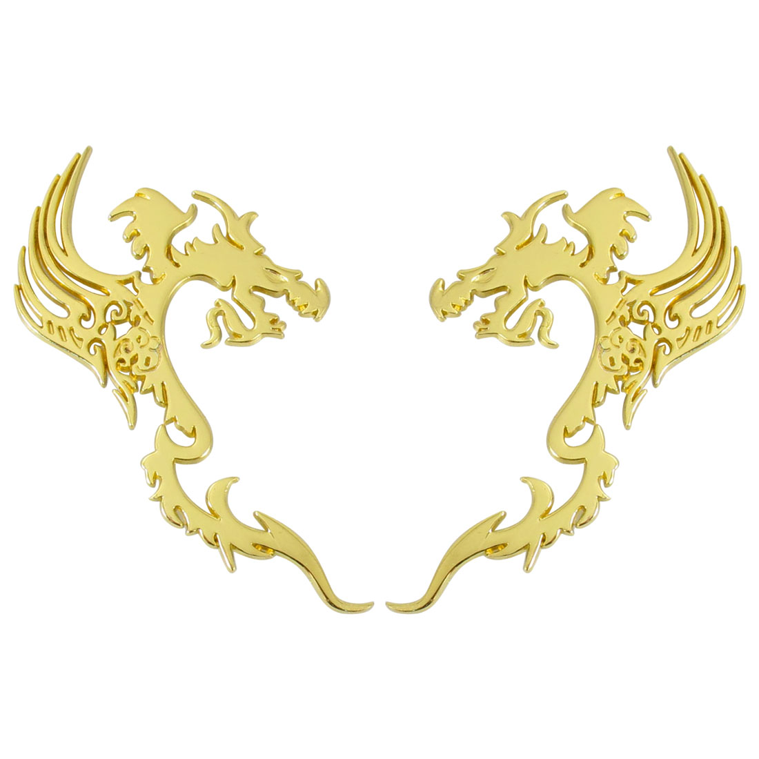 Pair Gold Tone 3D Dragon Pattern Decal Sticker for Car Vehicle