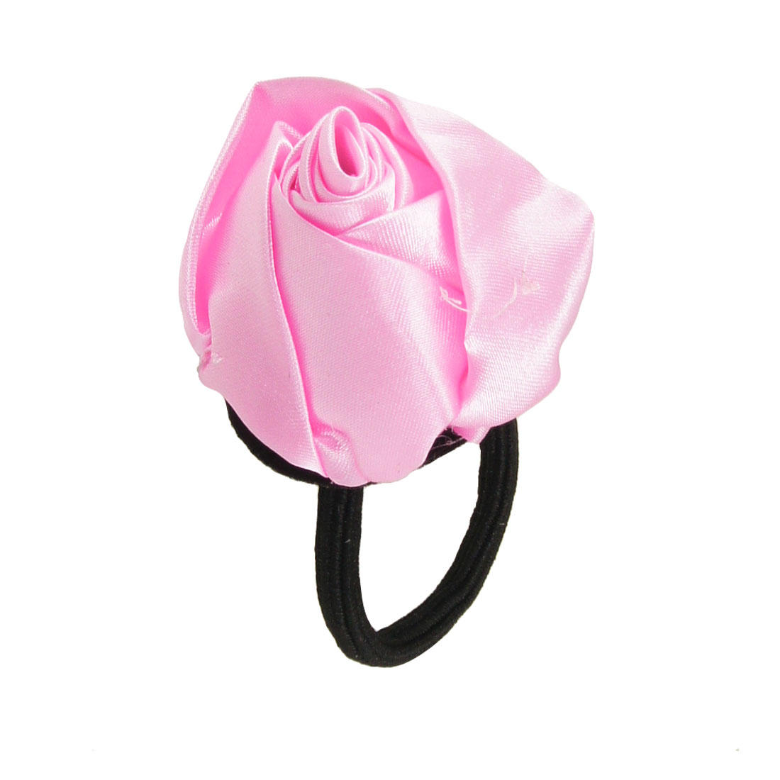 Pink Rose Accent Elastic Band Hair Tie Ponytail Holder for Women