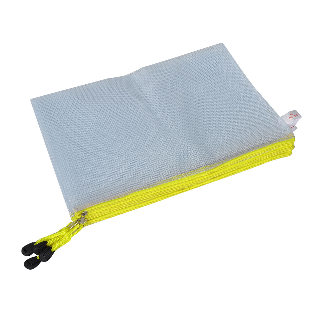 4 Pcs Pen File A4 Document Bags Yellow Zip up White Plastic Pockets