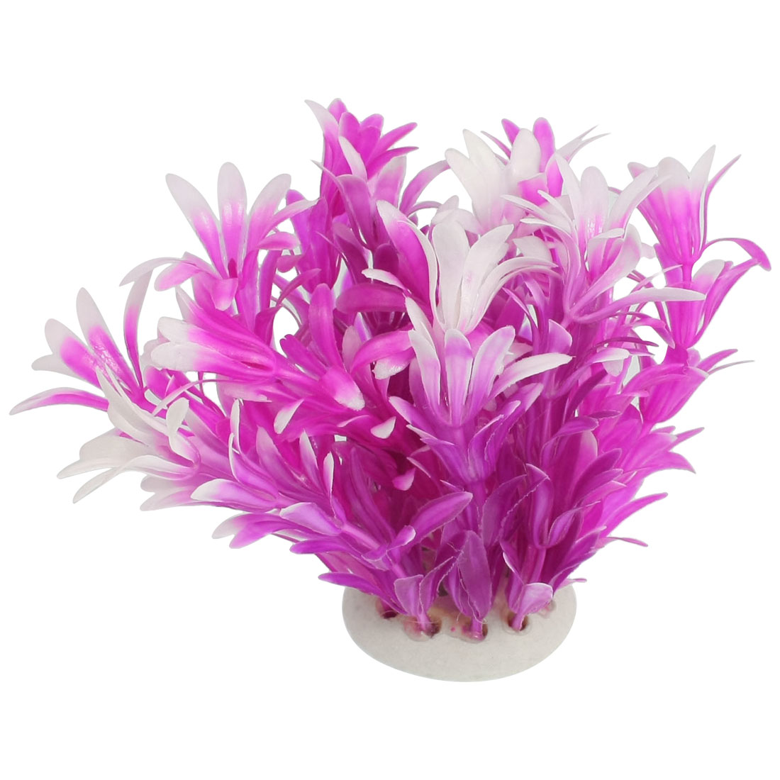 "Ceramic Base Purple Plastic Grass Decoration 4.5"" for Fish Tank"