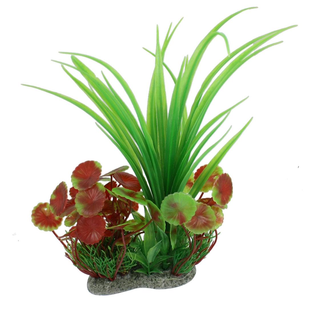 "Fish Aquarium Decoration Plastic Green Red Grass Plant 10.6"" Height"