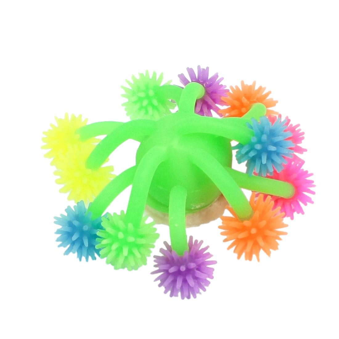 """Multicolor Soft Silicone Sea Coral Ornament 3.7"""" Width for Fish Aquarium"""