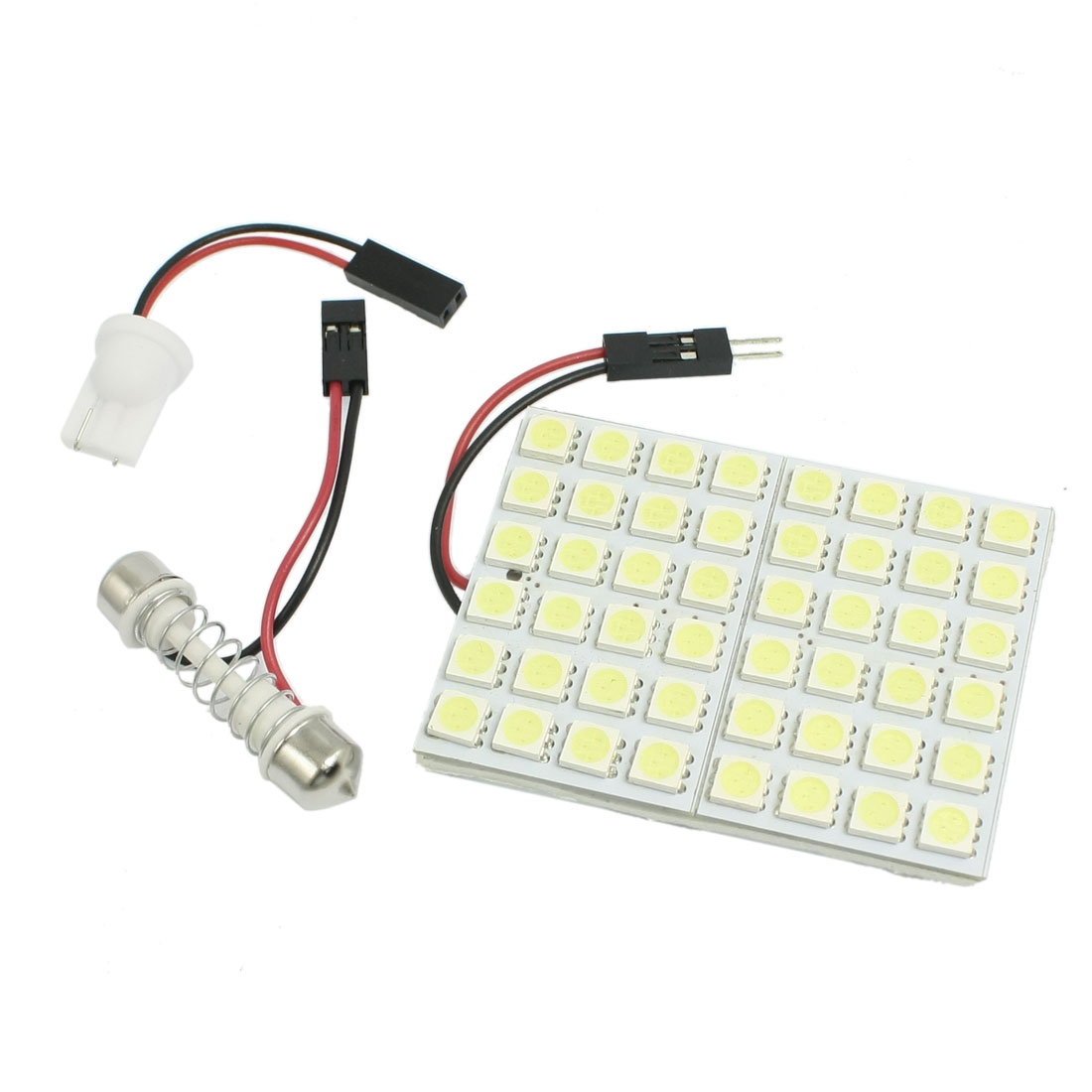 Car White 5050 SMD 48-LED Dome Light Lamp Panel w T10 Festoon Adapter