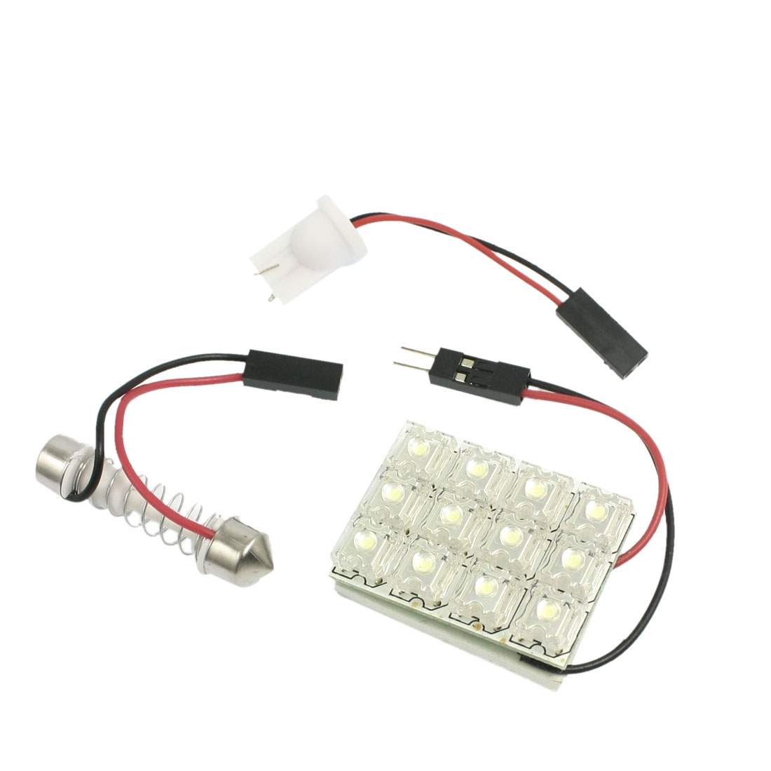 Car White 12-LED Dome Light Lamp Panel w T10 Festoon Adapter