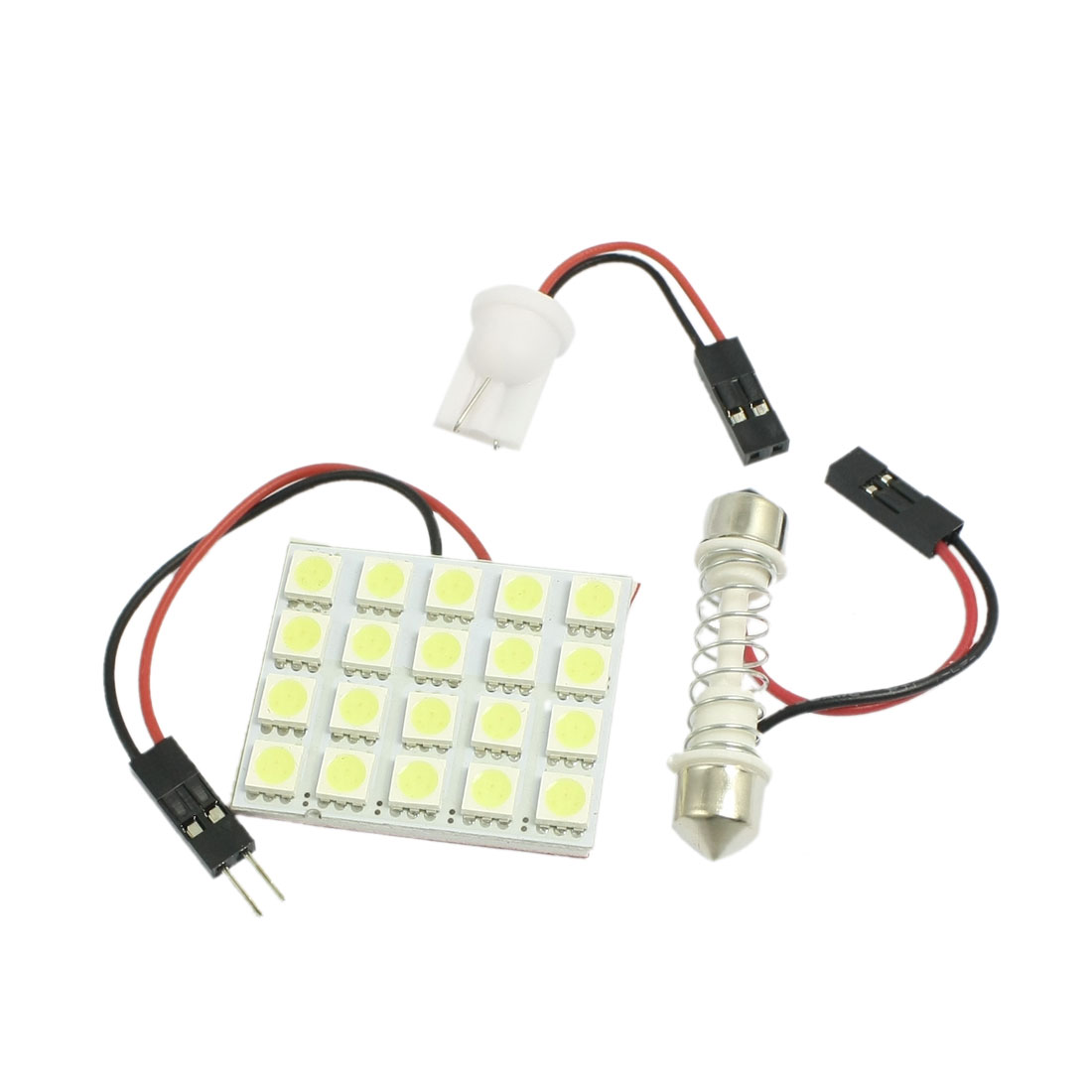 Car White 5050 SMD 20-LED Dome Light Lamp Panel w T10 Festoon Adapter