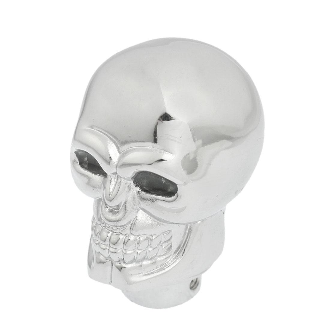 Manual Auto Car Silver Tone Metal Skull Head Shape Gear Shift Knob w Blue Light