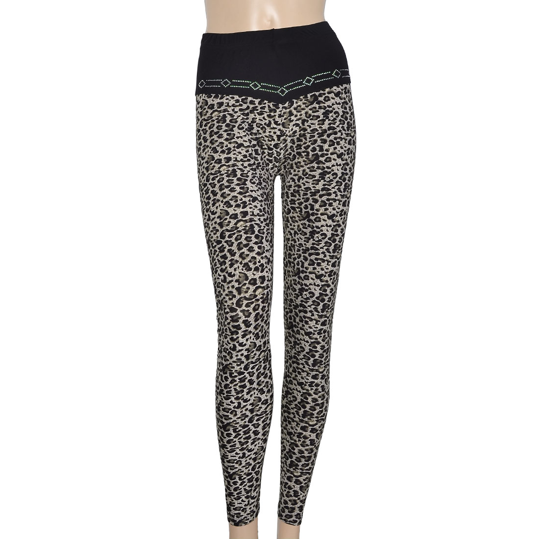 Women Faux Crystal Decor Elastic Waist Leggings Skinny Pants Black XS