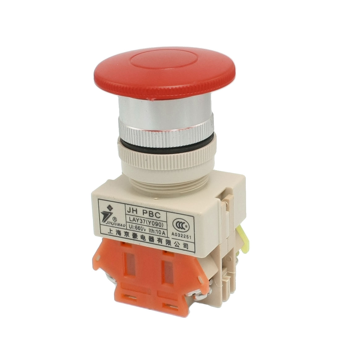 660V Ui 10A Ith Red Button Mushroom Momentary Pushbutton Switch