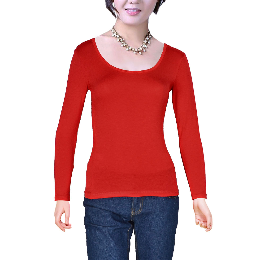 Women Scoop Neck Long Sleeve Fitted Pullover Short Shirt Red XS