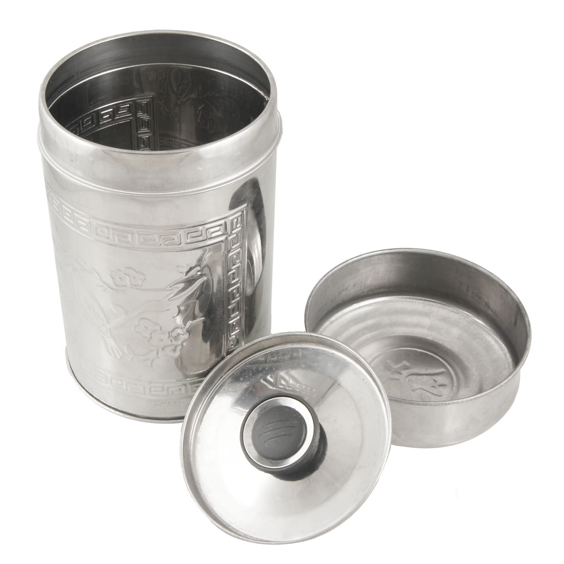 400g Capacity Floral Bird Pattern Stainless Steel Tea Tin Canister Silver Tone