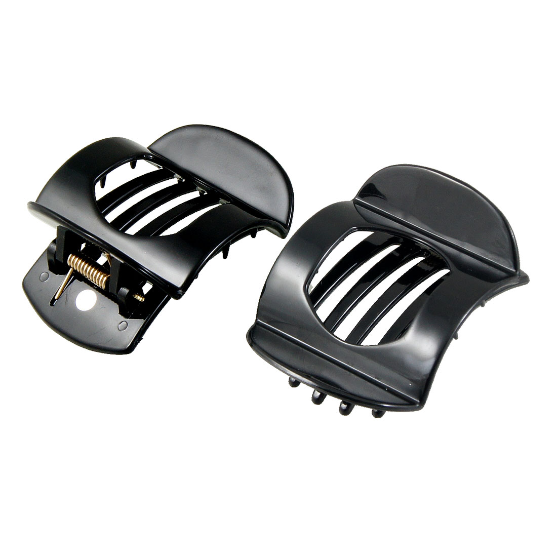 Black Plastic Barrette Hairpin Clamp Hair Claw Clip 2 Pcs for Ladies