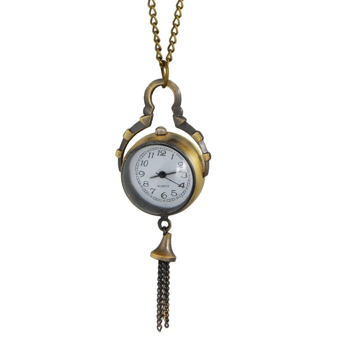 Bronze Tone Clear Plastic Crystal Ball Shaped Pendant Black Arabic Number Dial Necklace Watch