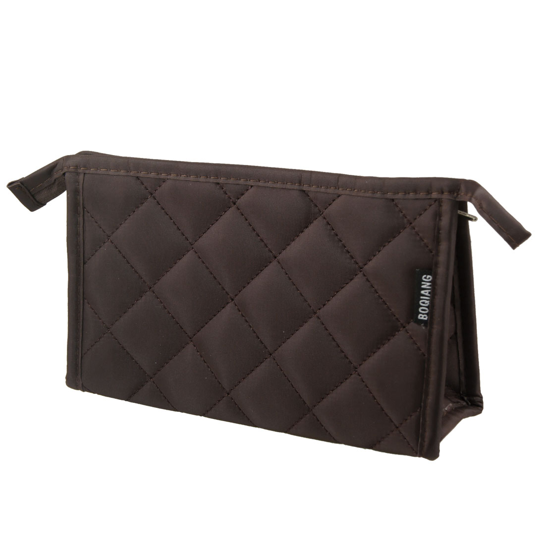Brown Grid Pattern Rectangle Shape Dual Compartments Makeup Zippered Bag for Women
