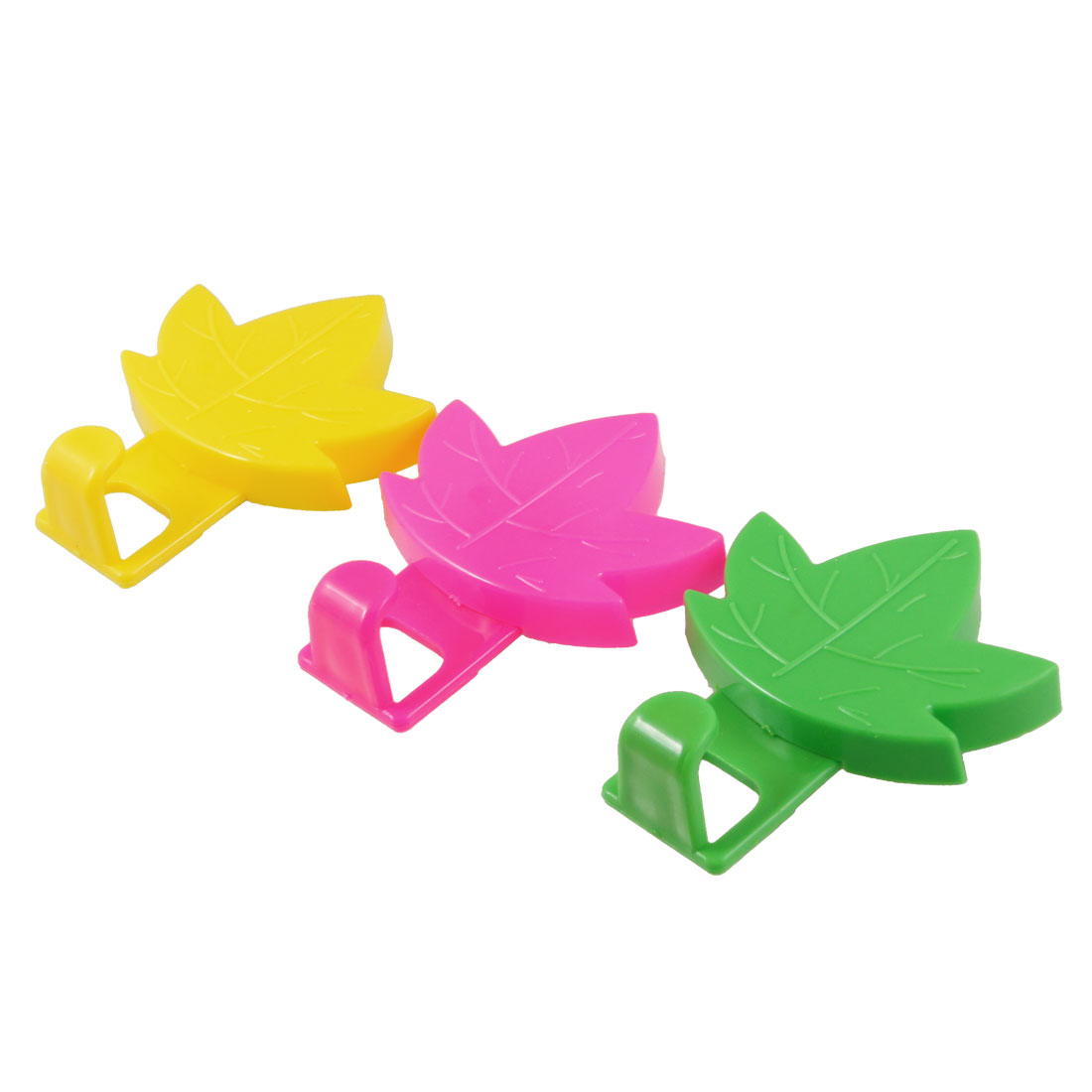 3 Pcs Hot Pink Green Yellow 2kg Load Plastic Sticky Leaf Hooks Hanger