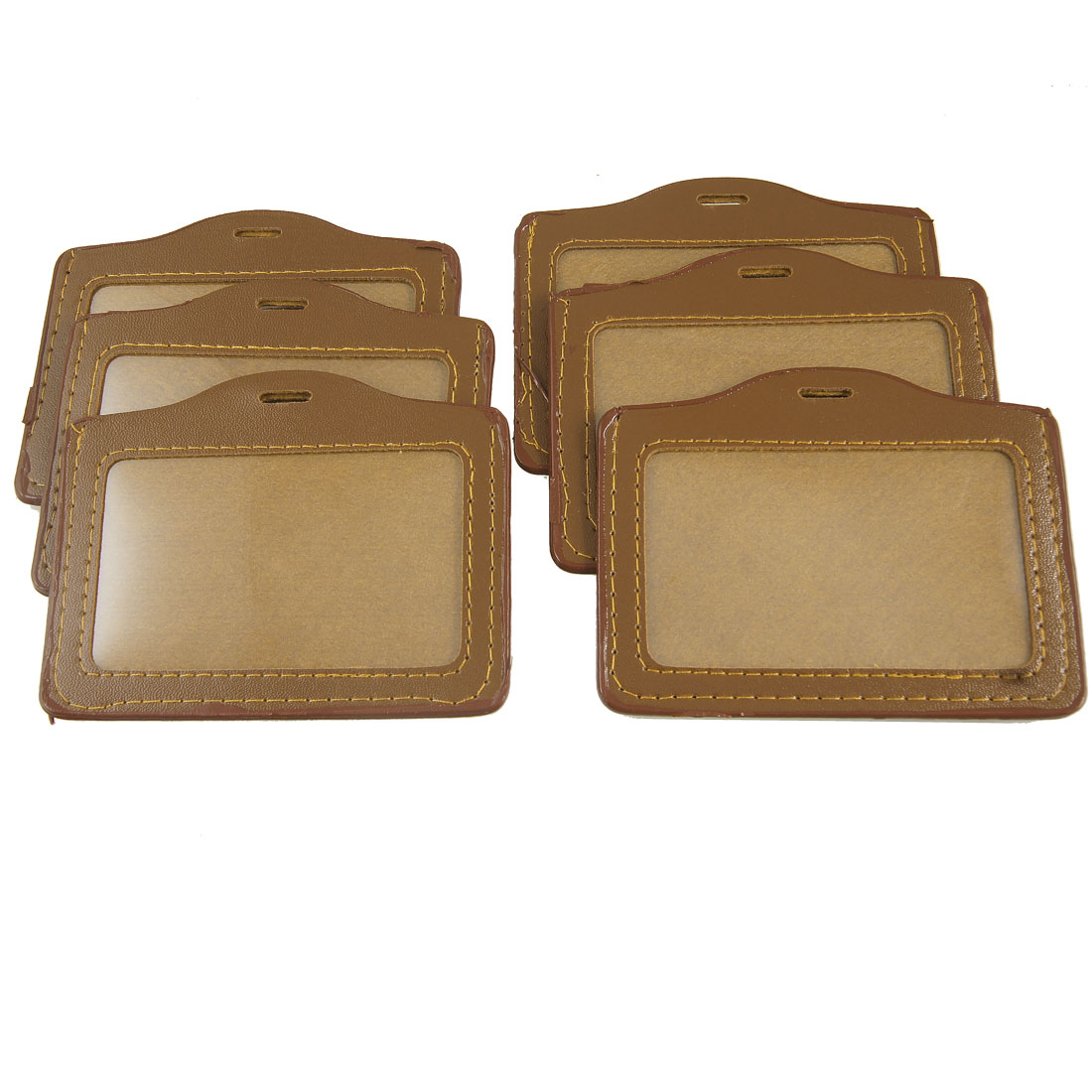 6 Pcs Brown Clear Faux Leather Plastic ID Name Work Card Holders