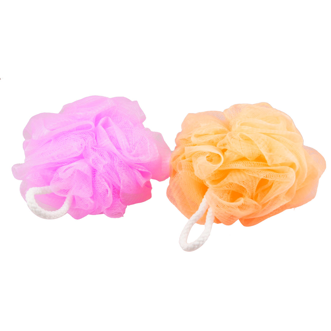 2 Pcs Pink Orange Yellow Hanging Hoop Nylon Mesh Net Bath Ball Shower Pouf