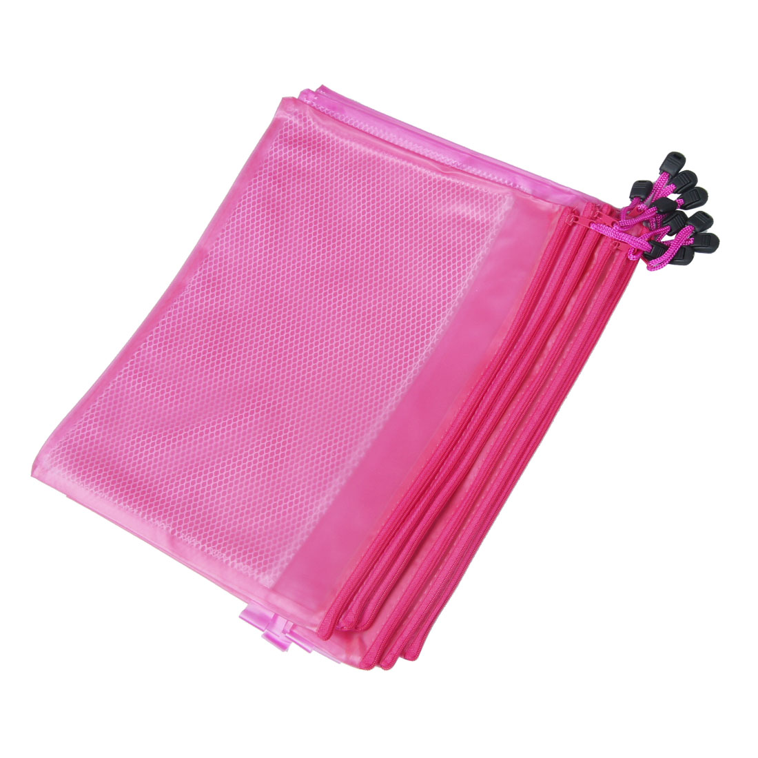 Fuchsia Water Resistant Zipper Closure A4 Paper File Bags 10 Pcs