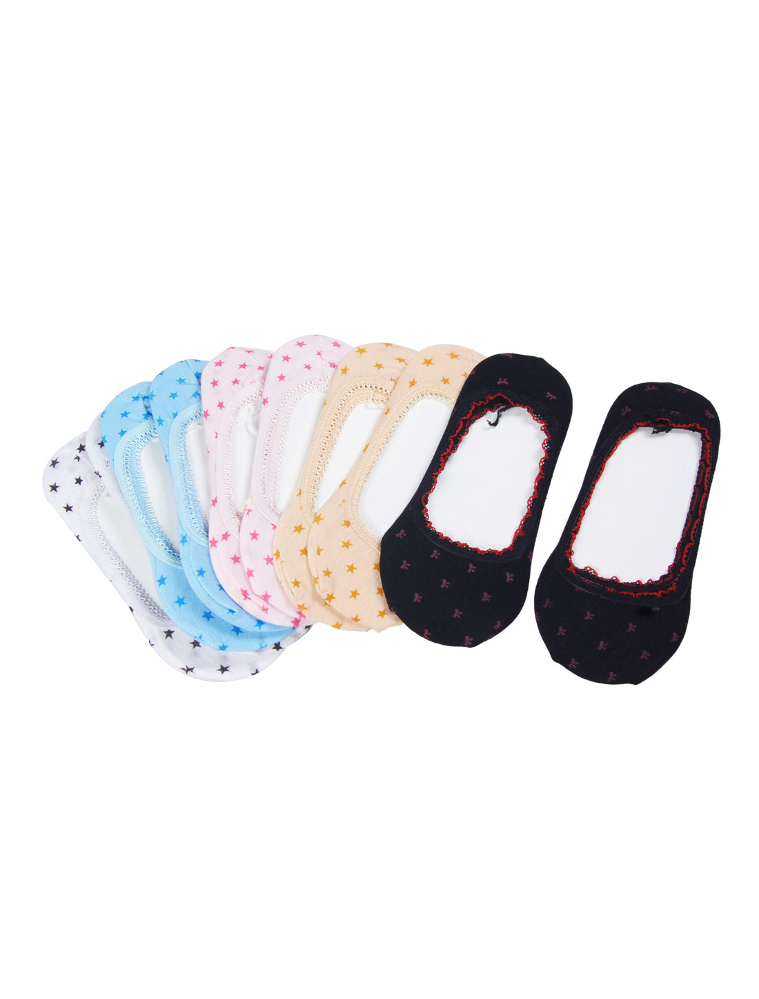 Lady Colorful Low Ankle Elastic Stars White Boat Socks 10 Pairs