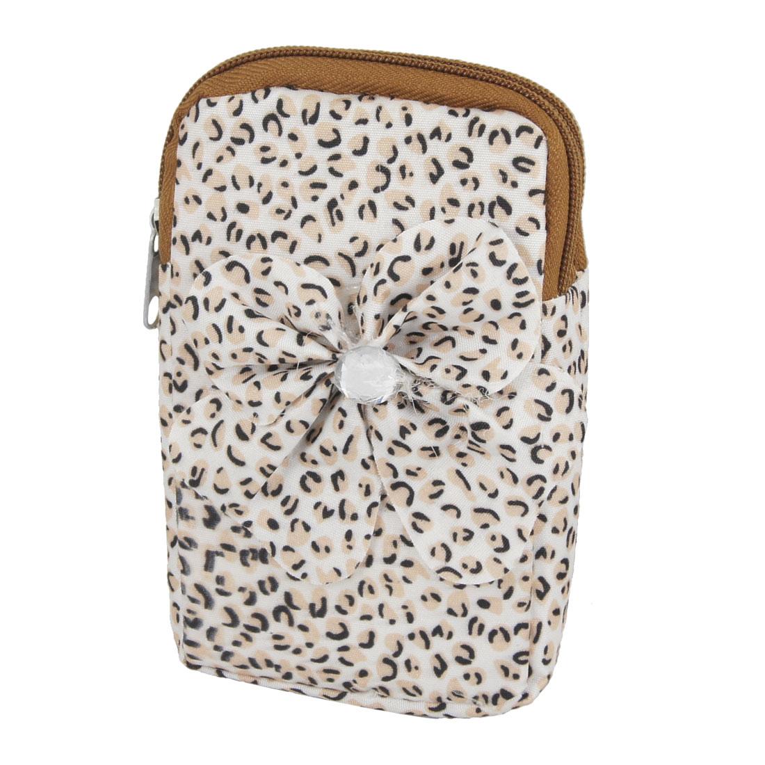 Khaki Black Leopard Pattern Zipper Closure Cell Phone Wrist Bag