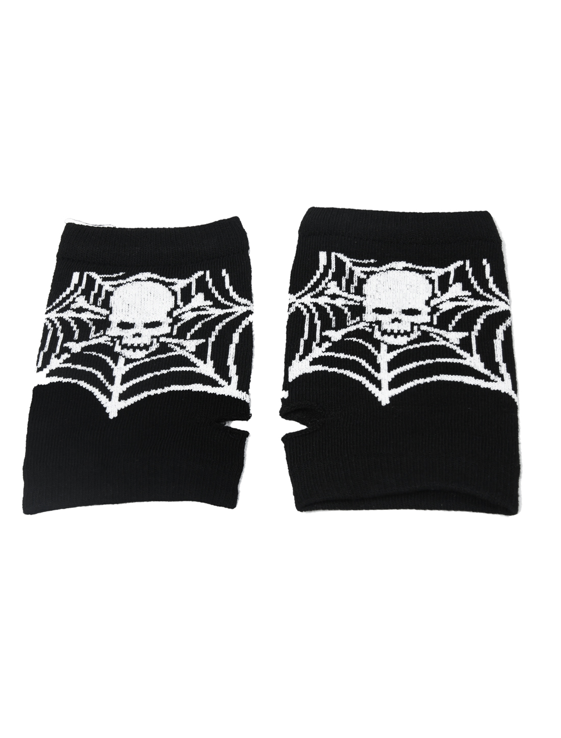 Lady White Skull Spider Net Pattern Black Thumbhole Gloves Pair