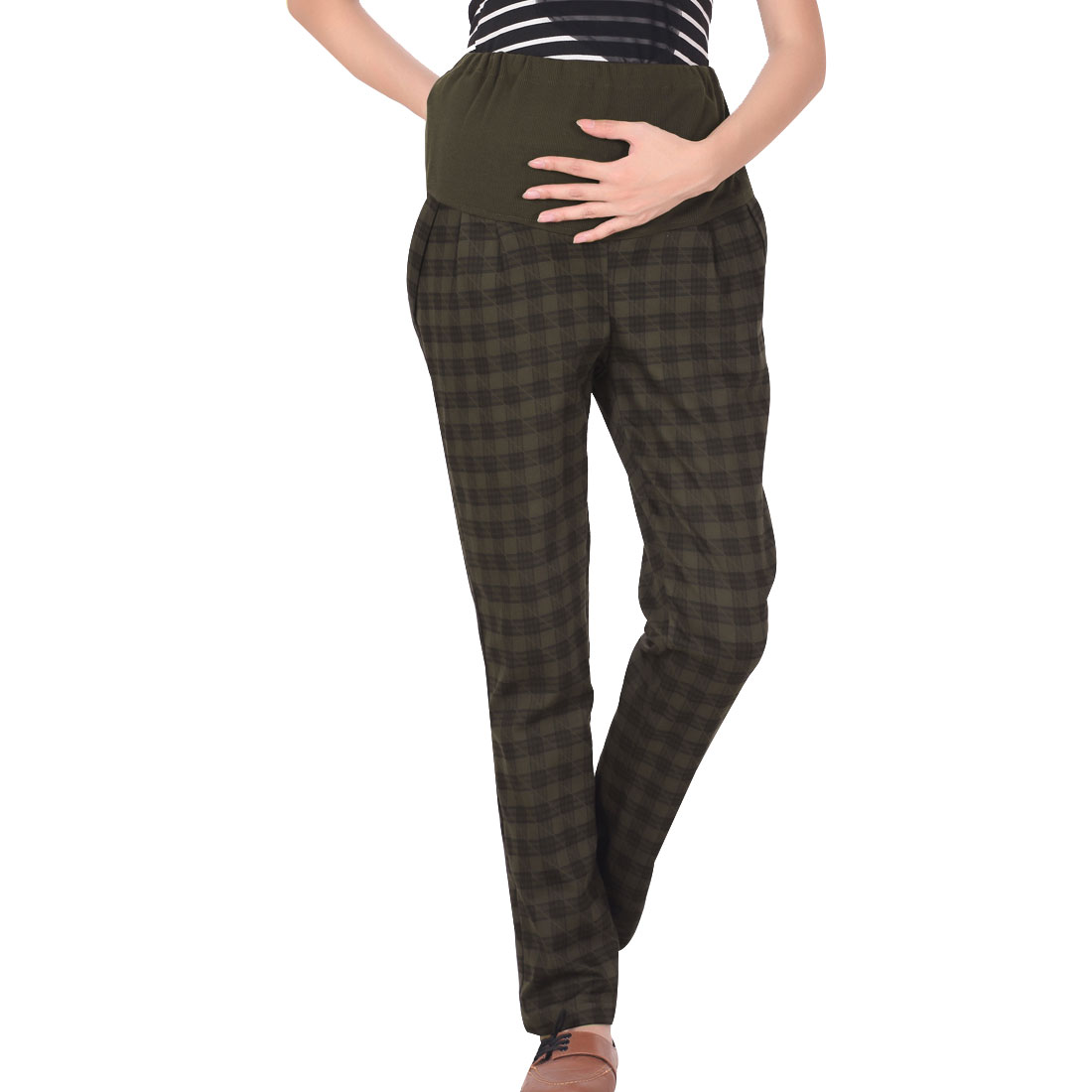 Motherhood Dark Olive Green Color Plaids Pattern Pockets Detail Slim Trousers L