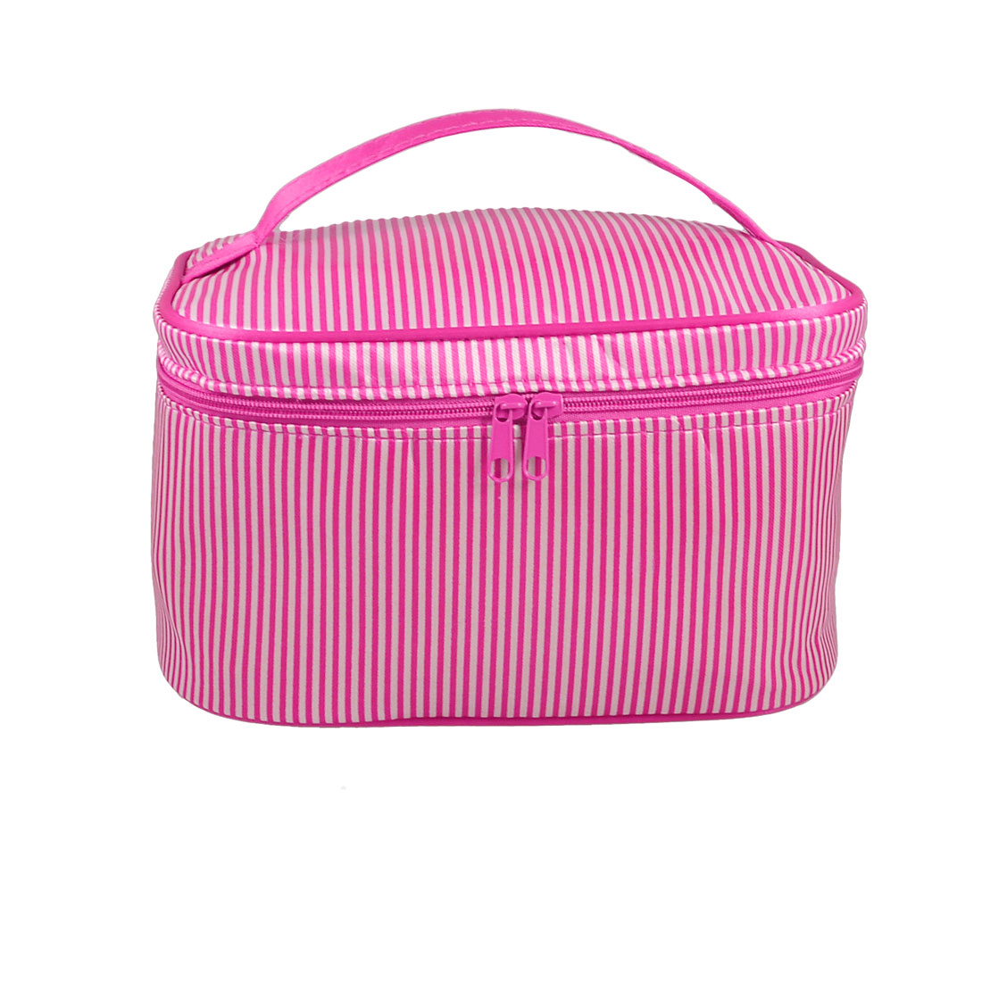 Fuchsia White Pinstripe Inner Mirror Cosmetic Handbag for Lady