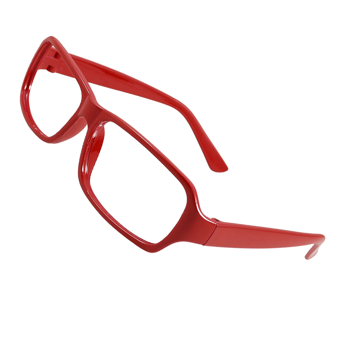 Lady Single Bridge Rectangular No Lens Red Plastic Rim Glasses Frame