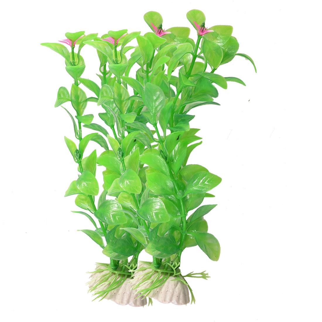 """Aquarium Decoration 7"""" Height Green Leaf Plastic Underwater Plant 2 Pcs"""