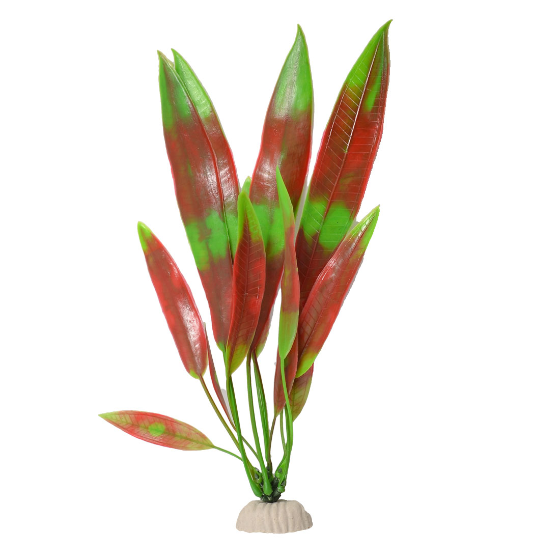 Red Green Slender Leaf Underwater Plastic Plant Aquarium Fish Tank Ornament