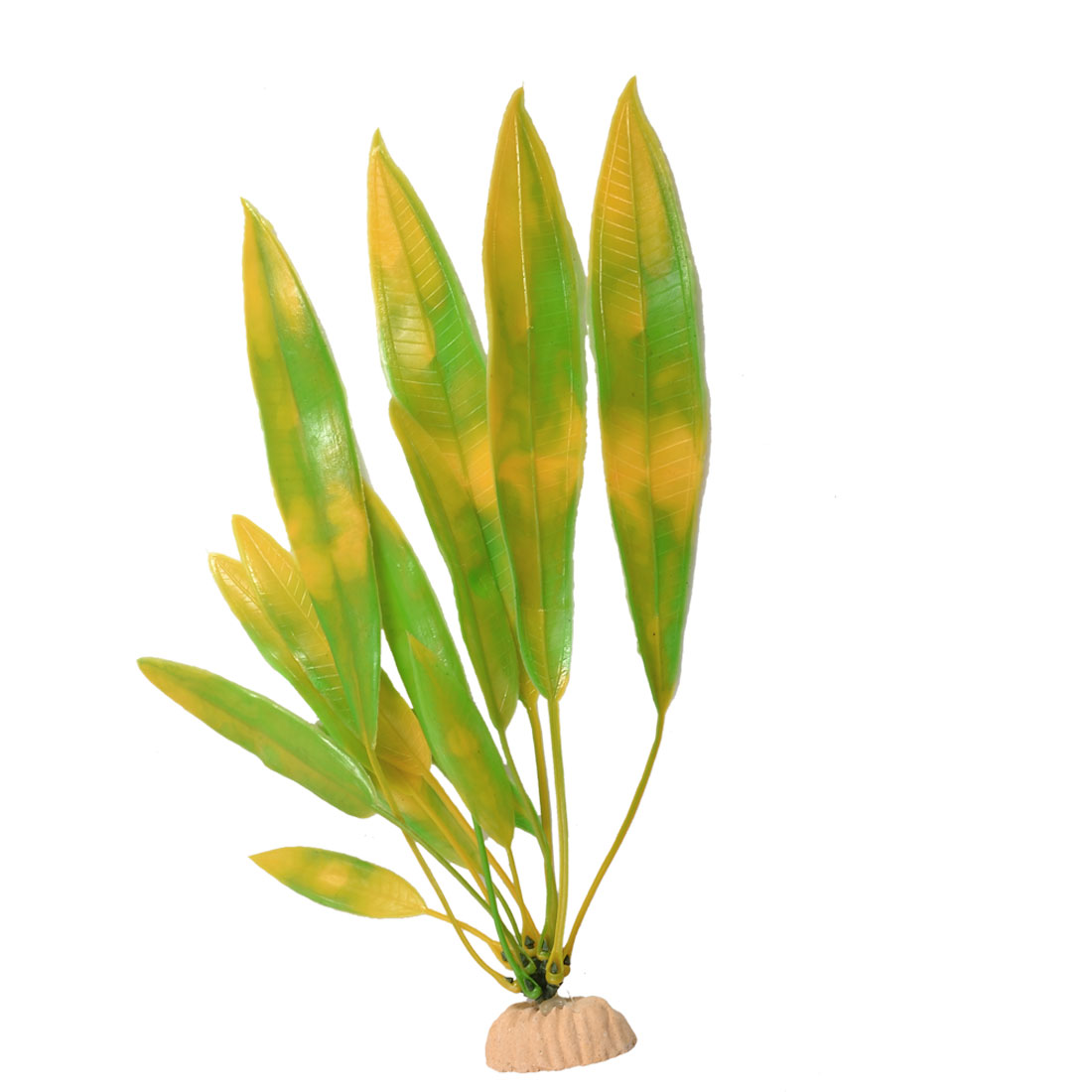 Plastic Green Yellow Slender Leaf Underwater Plant Aquarium Fish Tank Ornament