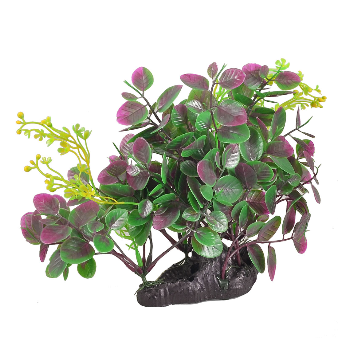 "Fish Tank Decoration 10"" Height Plastic Purple Green Leaf Underwater Plant"