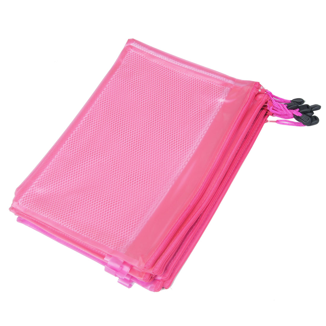 10 Pcs Two Compartments A4 Paper Zippered PVC File Folder Bags Fuchsia