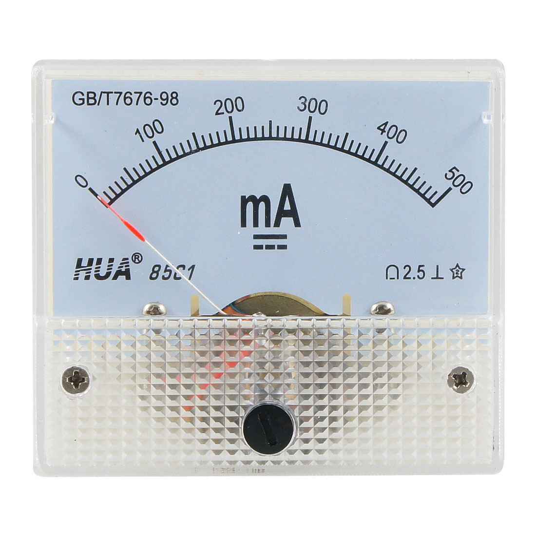 85C1 Class 2.5 Accuracy DC 0-500mA White Analog Amperemeter Panel Meter Gauge