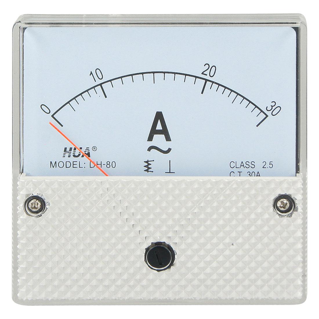 Square Shape Class 2.5 DH80 AC 0-30A Rectangle Analog Panel Ammeter Gauge