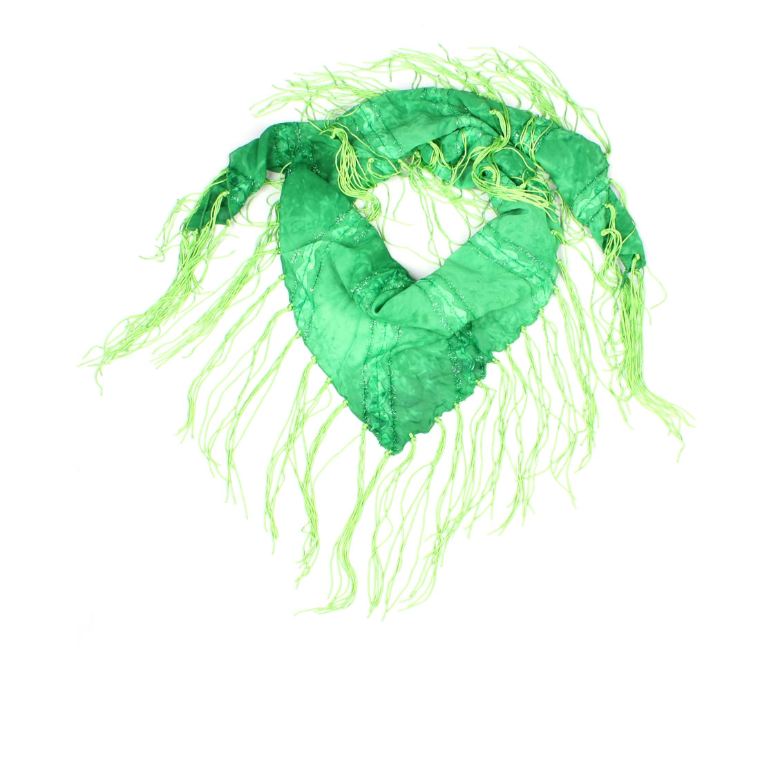 Women Tie Dye Glittery Tinsel Decor Green Tassel End Fringed Triangle  Neck Scarf Tying For Women