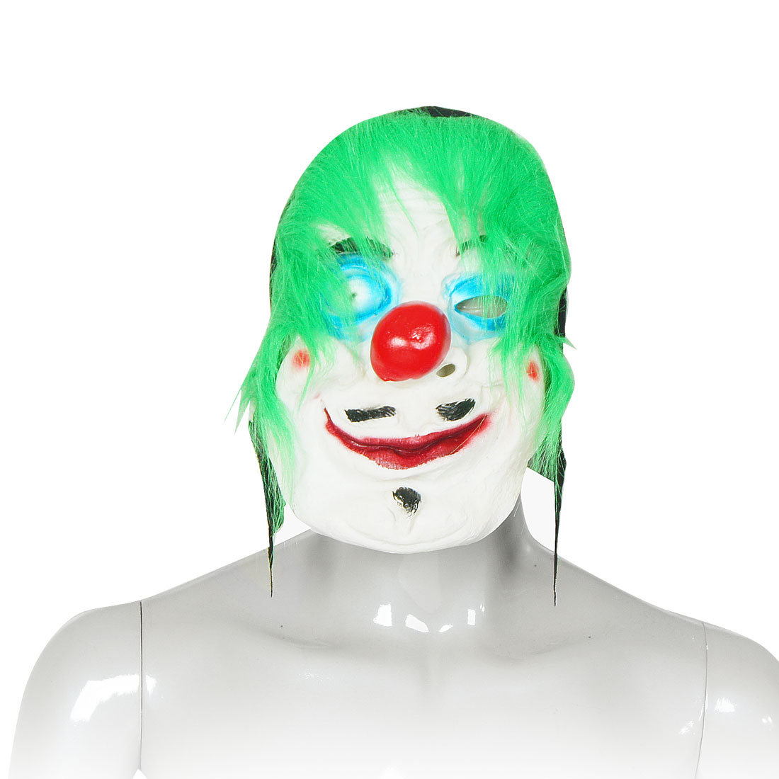 Halloween Party Green Faux Fur Red Big Nose Rubber White Clown Mask for Adult