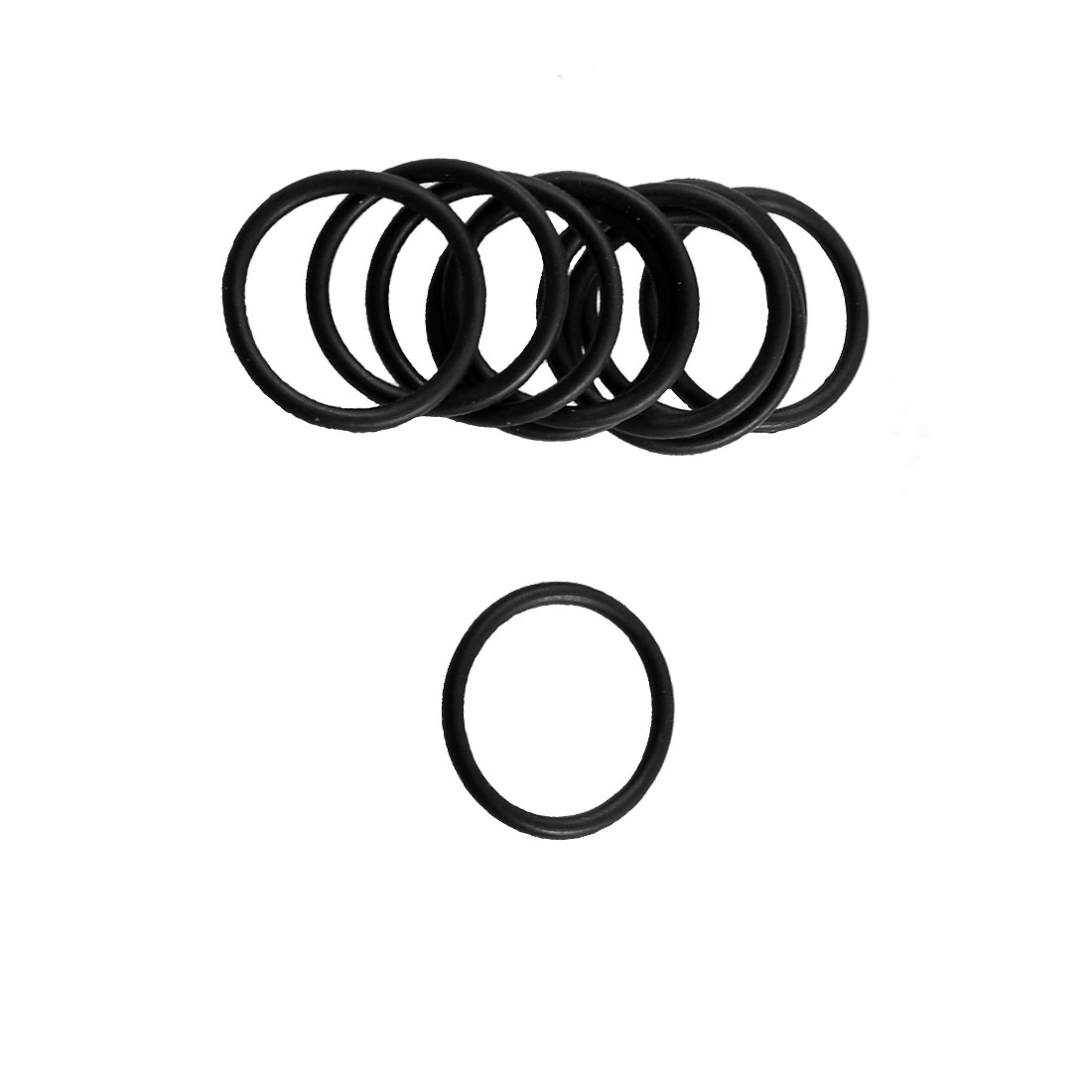 10 Pcs 19.6mm x 16mm x 1.8mm Black Rubber O Ring Oil Sealing Gasket