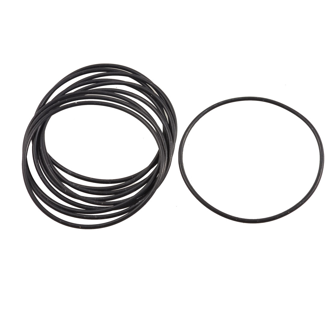 10 Pcs 53mm x 1.8mm Circular Rubber Oil Sealing O Ring Gaskets Black
