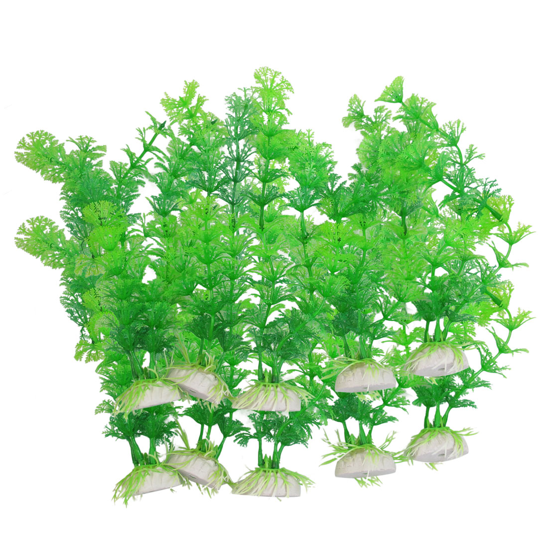 10pcs Ceramic Base Green Plastic Tank Plant Aquarium Grass